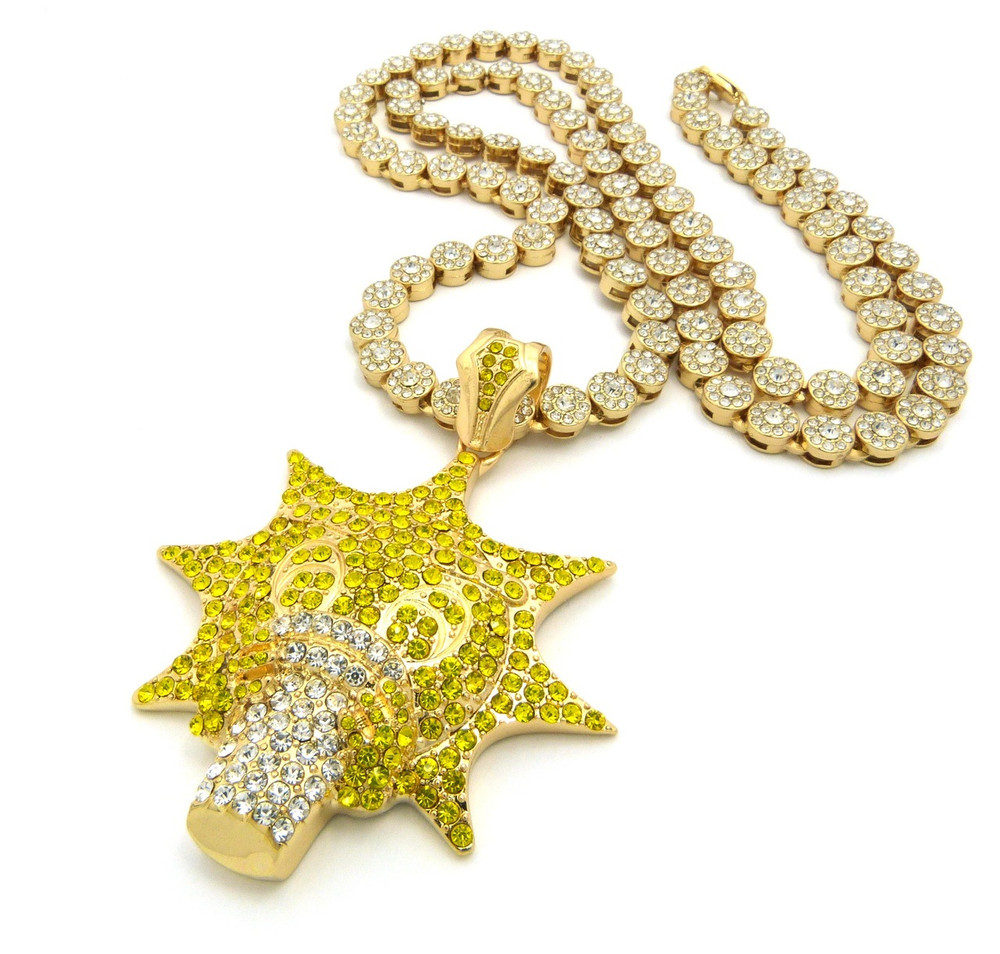 Chief Keef Inspired Glo Gang Hip Hop Cluster Chain Necklace Gold