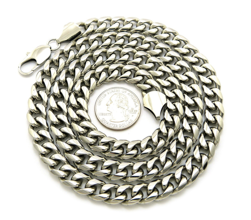 """10mm 30"""" Hip Hop Stainless Steel Miami Cuban Link Chain"""