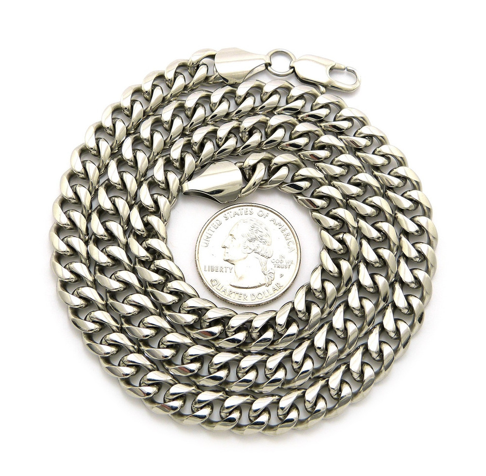 """Mens Stainless Steel Miami Cuban Link Chain Necklace 8mm 36"""""""