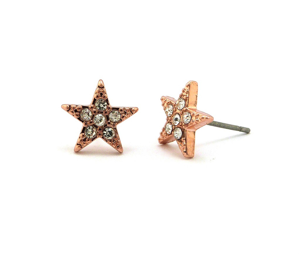 Hip Hop Rose Gold Hood Star Iced Out Earrings