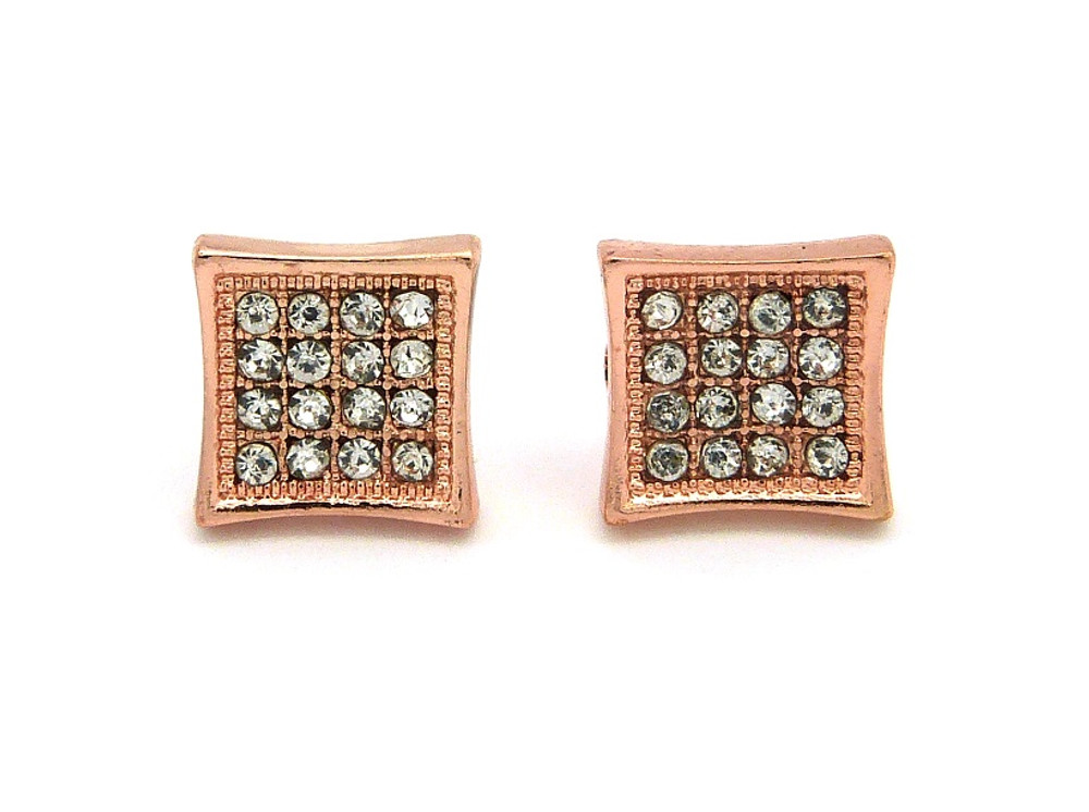 Men's Iced Out Square Kite Rose Gold Bling Earrings