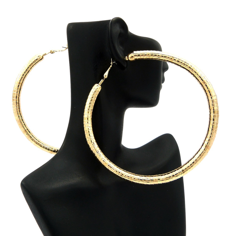 "3.75"" Womens Classic Big Hoop Earrings Gold"