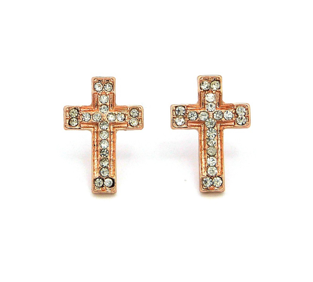 Hip Hop Simulated Diamond Rose Gold Iced Out Cross Earrings