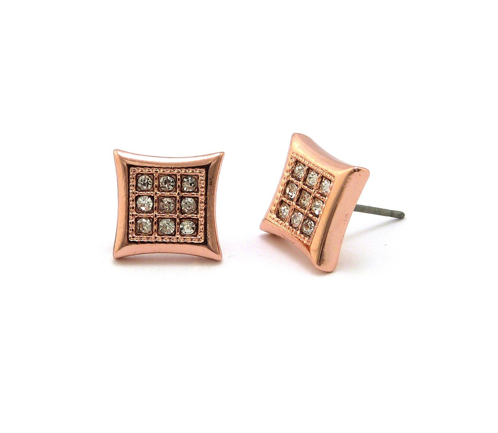 Mens Hip Hop Kite 9 Cut Rose Gold Simulated Diamond Earrings