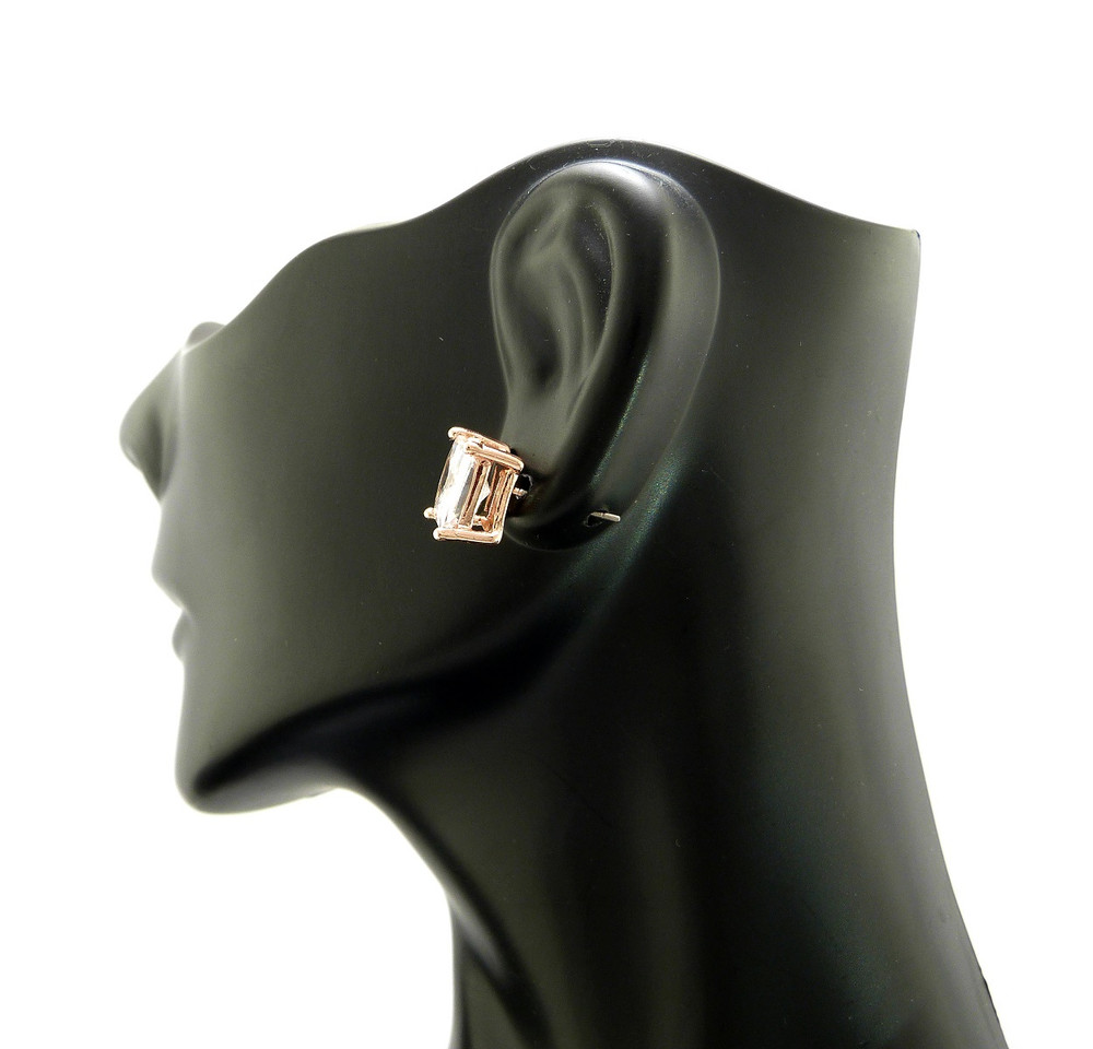 Rose Gold Simulated Diamond 4 Prong Princess Cut Earrings