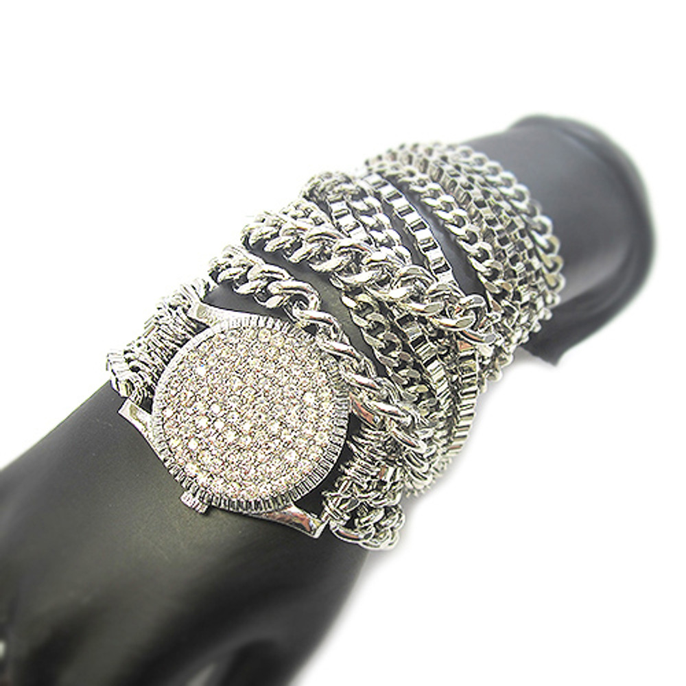 Ladies Celebrity Style Watch Style Bracelet Silver