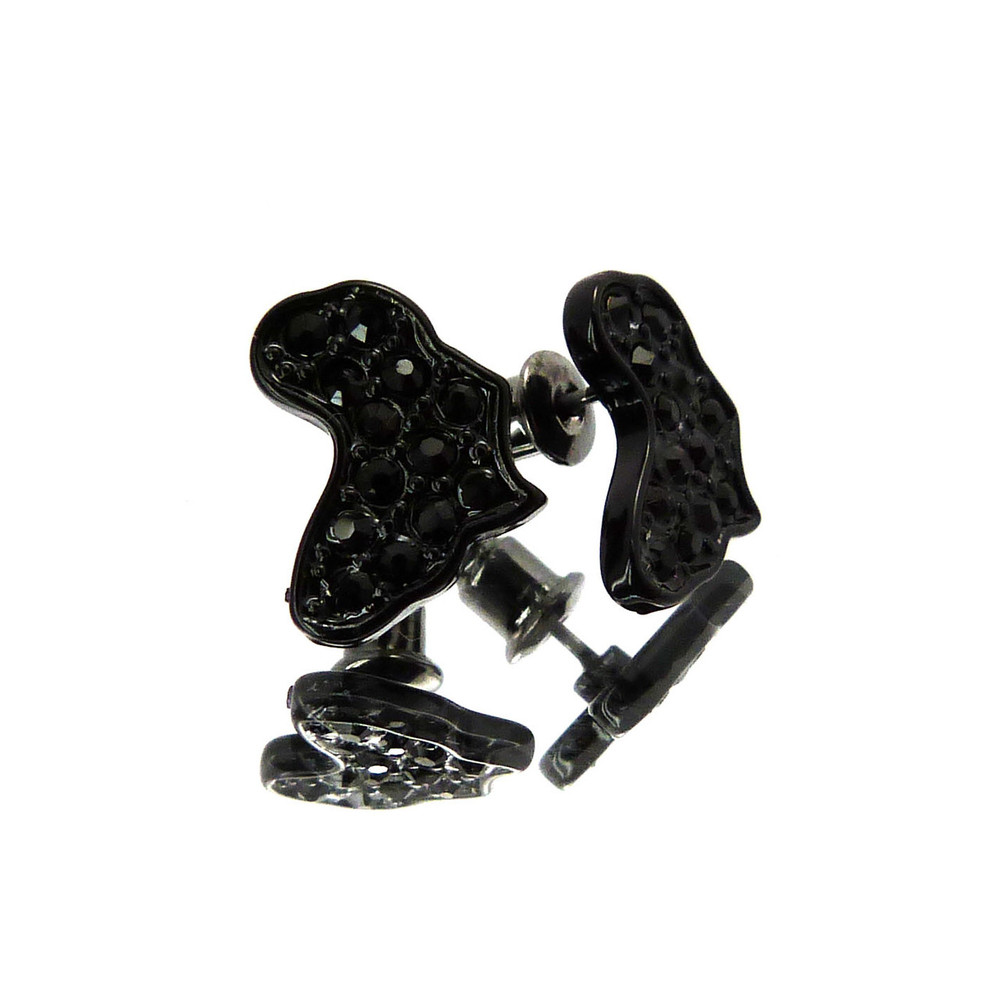 Mother Africa Hip Hop Cz Stone Earrings Black