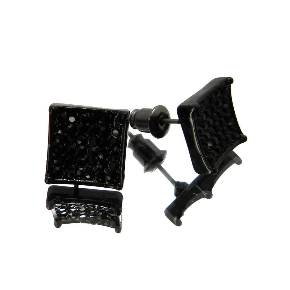 Concave Cut Cz Stone Hip Hop Bling Earrings Black