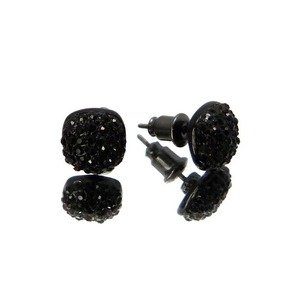 Snow Cap 3D Iced Out Earrings Black