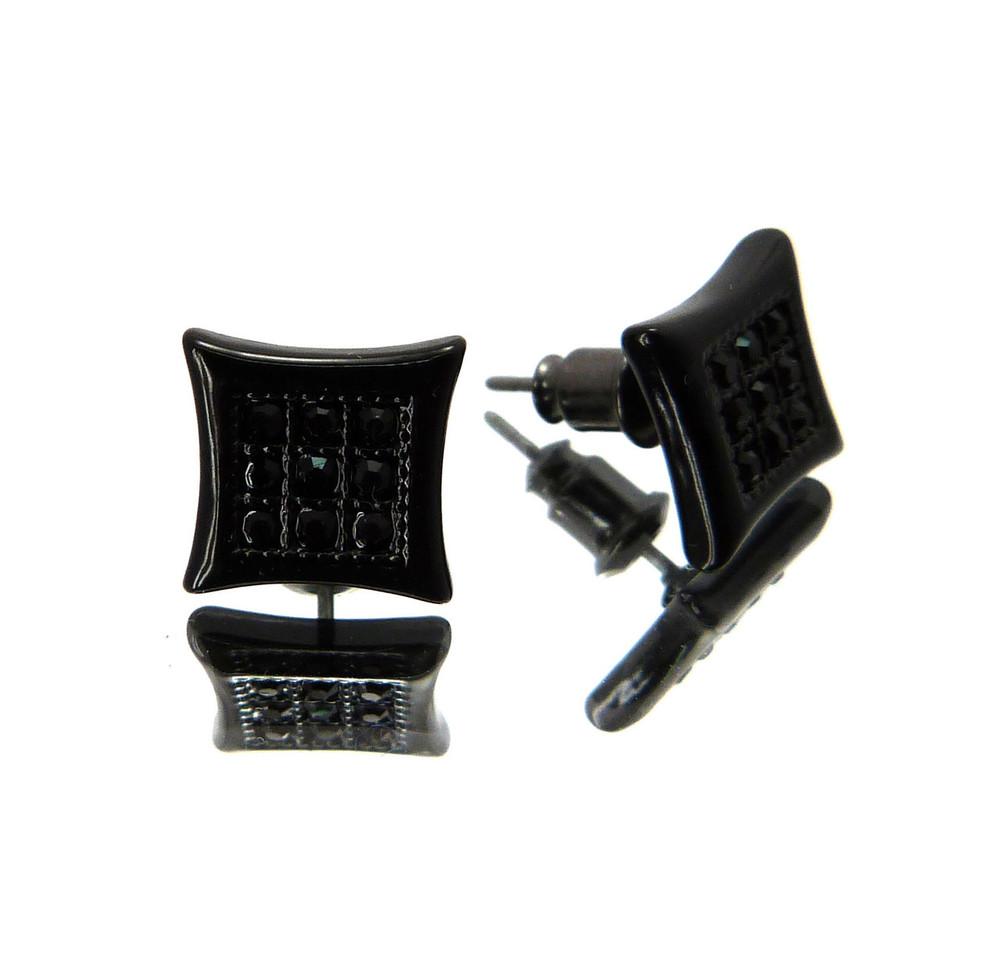 Hip Hop Kite Nine Cut Cz Stone Bling Earrings Black