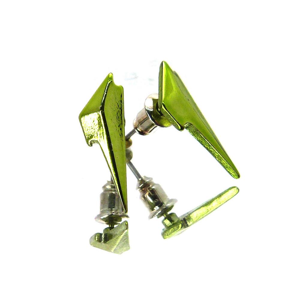 Lighting Bolt Hip Hop Bling Earrings Green