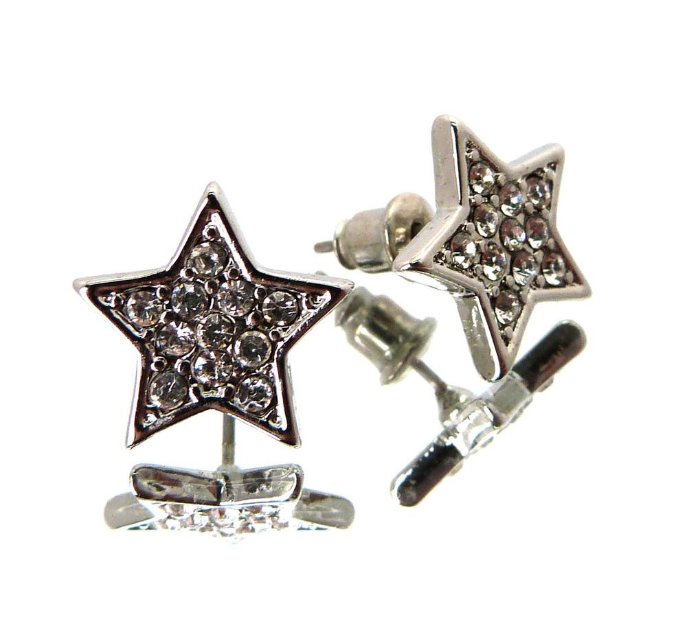 Hood Star Hip Hop Cz Stone Earrings Silver