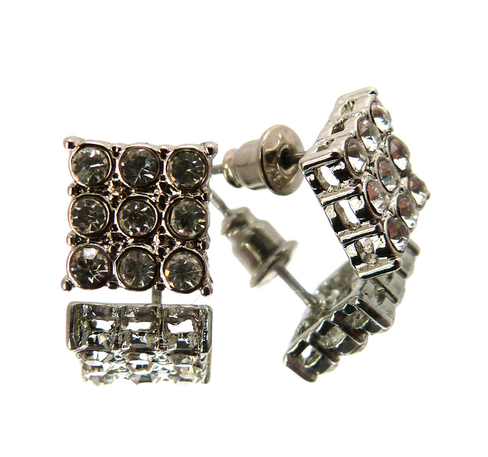 Mens Iced Out Rhodium No Border Earrings Silver
