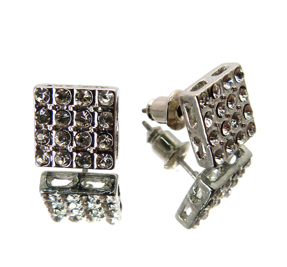 Mens Hip Hop Silver 16 Stone Square Cut Earrings Silver