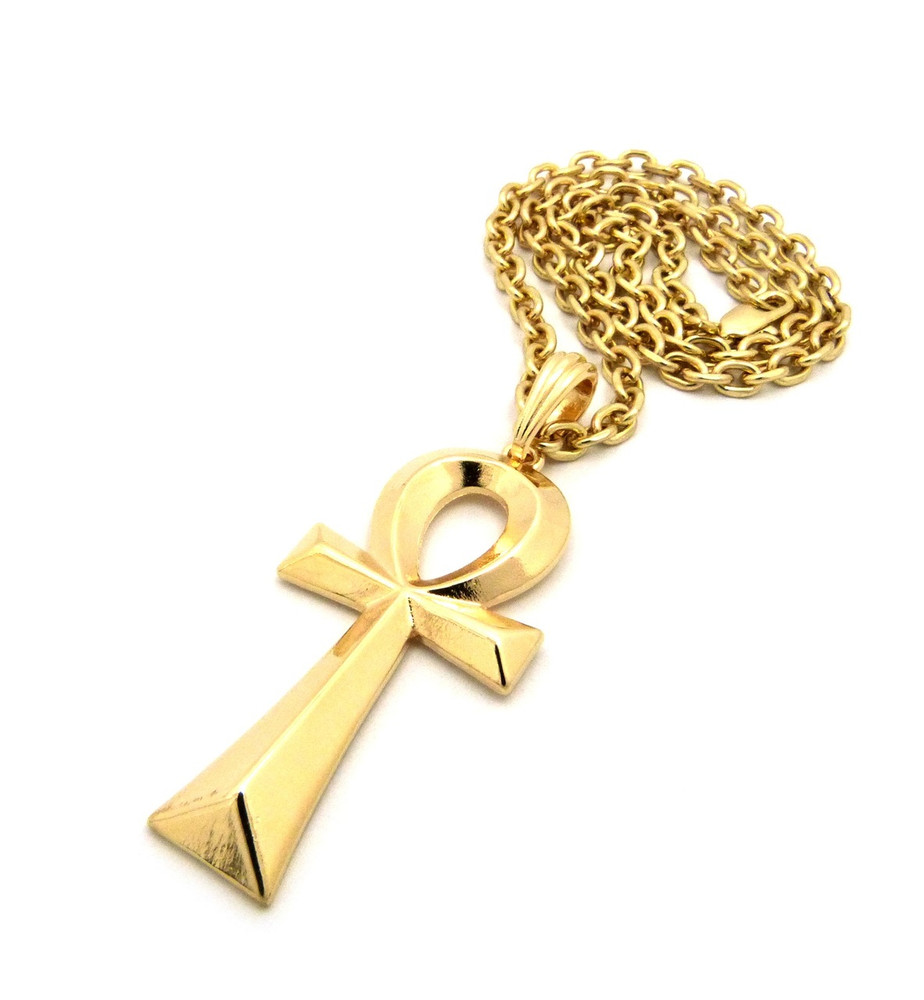 Ladies Ancient Egyptian Ankh Cross Pendant Gold