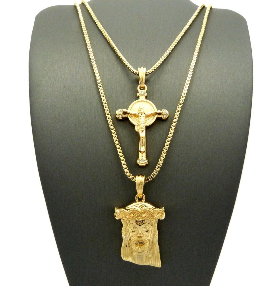14k Gold Hip Hop God Son Micro Jesus Piece Pendant