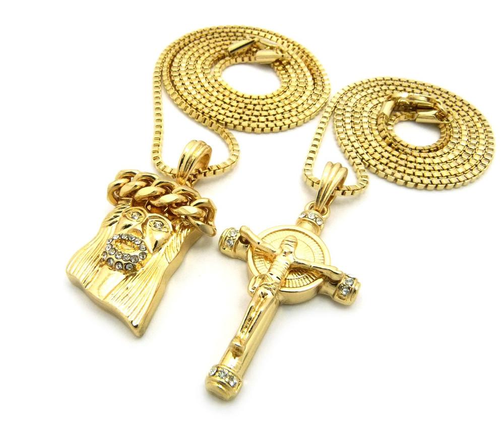14k Gold Iced Out Beard God Son Micro Jesus Piece Pendant