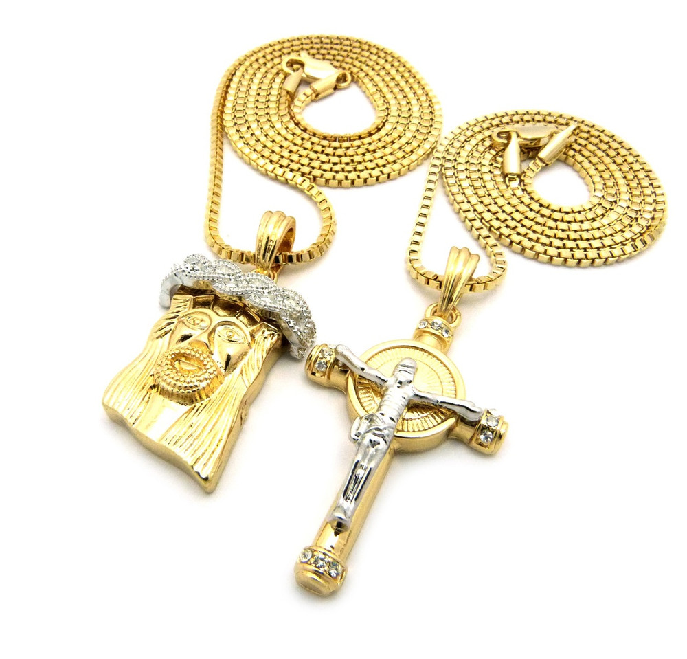 Iced Out Two Tone God Son Micro Jesus Pendant Silver Gold