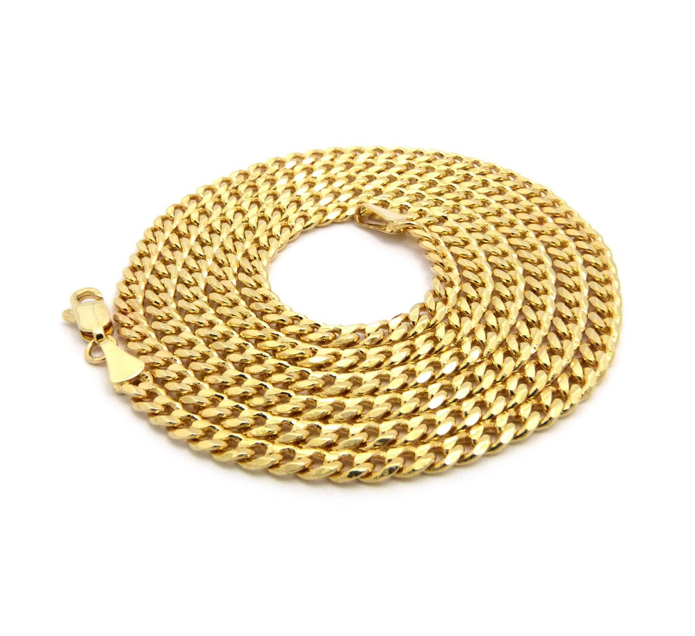 Diamond Cut 3mm 30 Inch Cuban Link Chain Necklace Gold