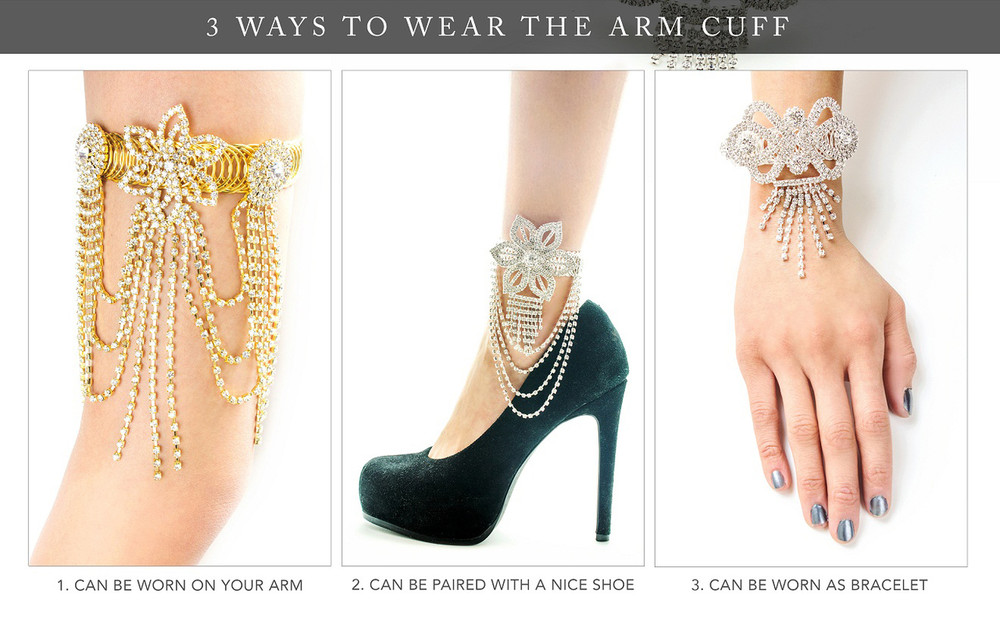 Ladies Queens Crown Sexy Ankle Arm and Wrist Bling Cuff Bracelet Gold