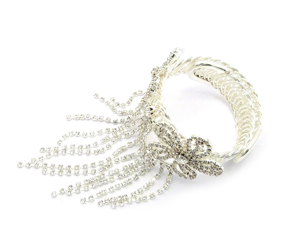 Ladies Lilly Flower Sexy Ankle Arm and Wrist Bling Cuff Bracelet Silver