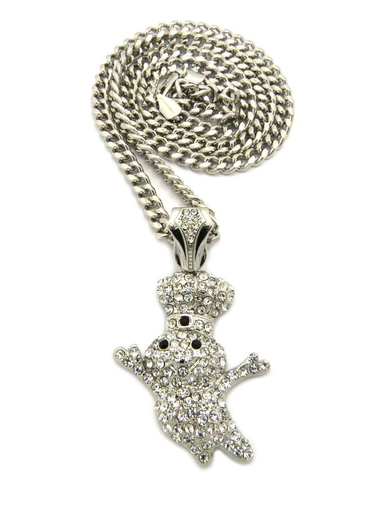 Hip Hop Diamond Cz Dough Boy Pendant Cuban Link Chain Silver