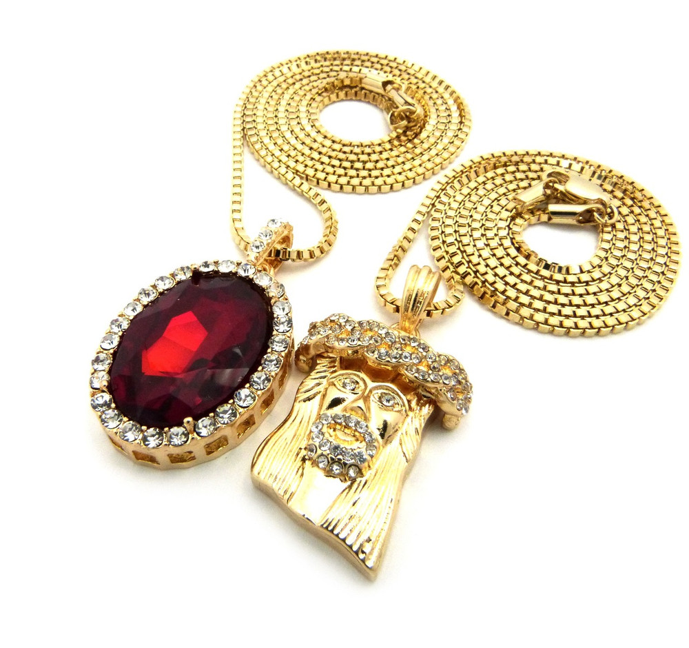 14K Gold Iced Out Micro Jesus Onyx Ruby Pendant Box Chain