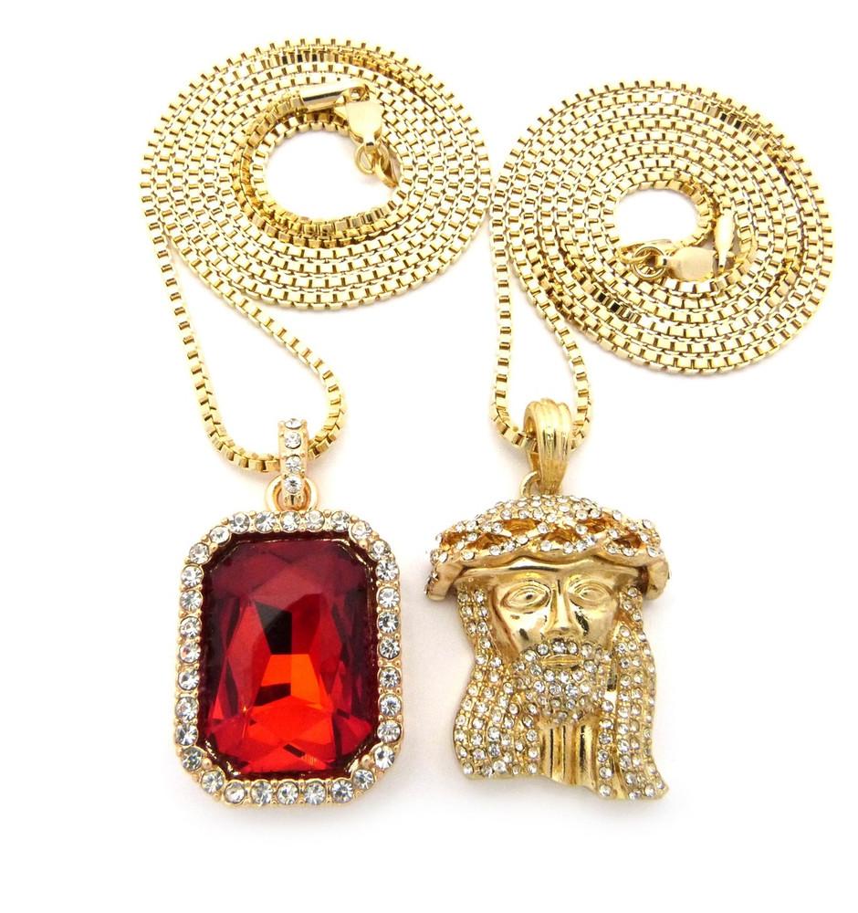 Ancient Look Micro Jesus Piece Onyx Ruby Shield Hip Hop Pendant