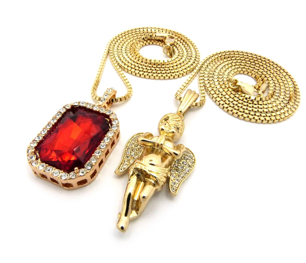 Hip Hop Micro Angel Cherub Pendant Square Ruby Onyx Shield Chain