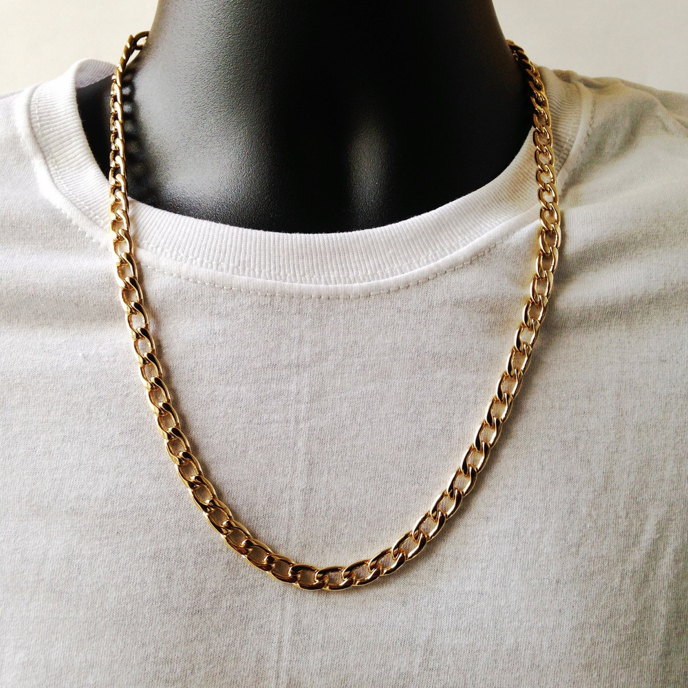 "Men's 7mm 24"" Thick Classic Cuban Link Chain Necklace Gold"
