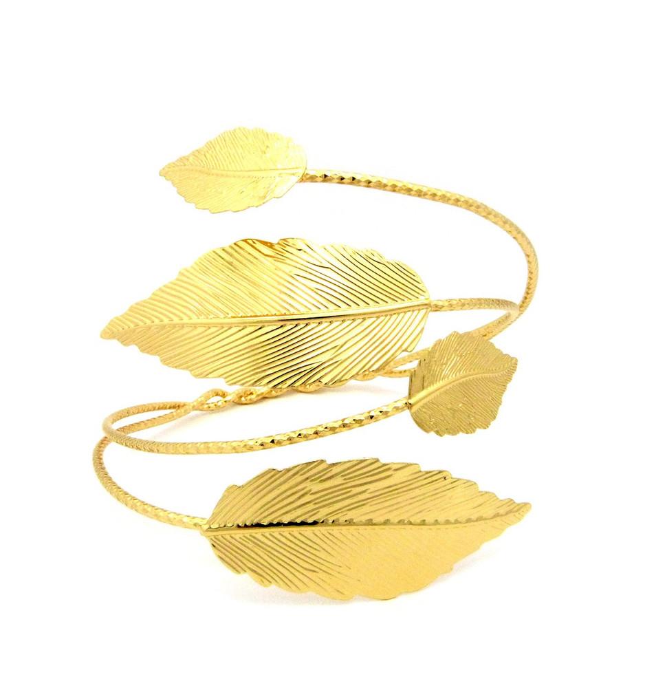 Ladies Gold Leaf Arm Strechable Cuff Bracelet