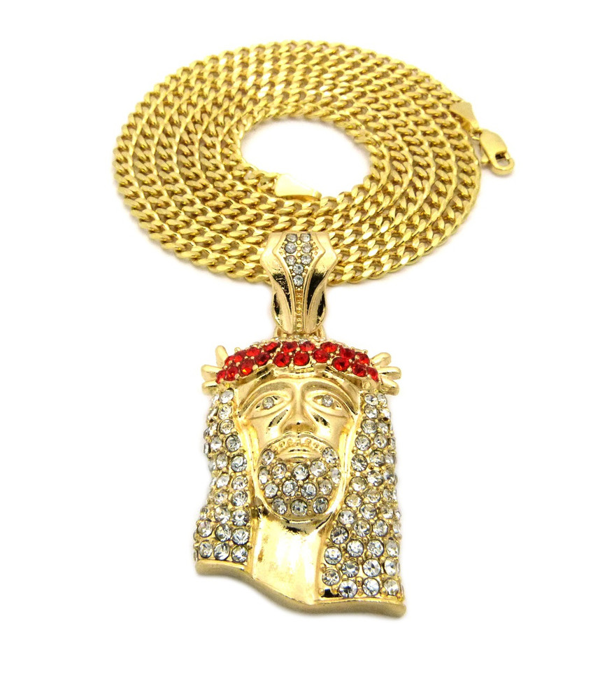 Crown Of Thorns Jesus Pendant Cuban Chain Red Gold