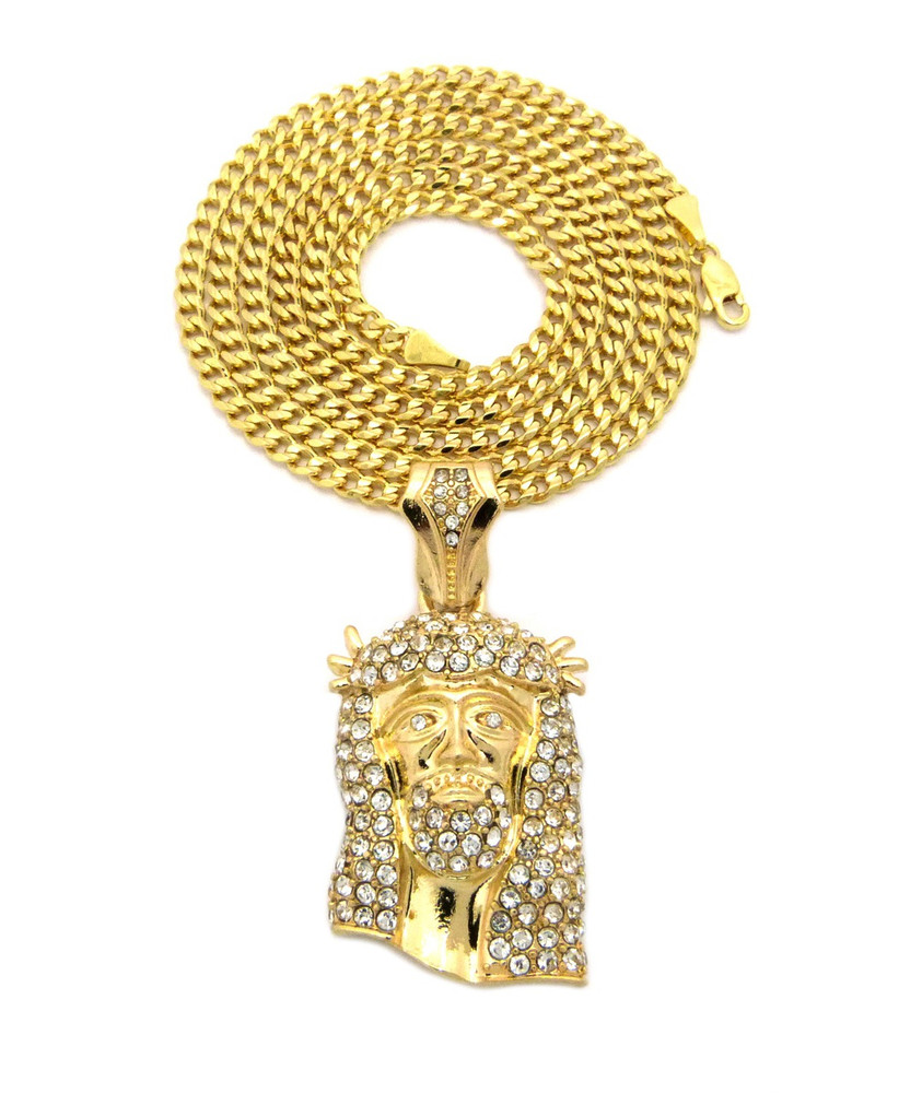 Crown Of Thorns Jesus Pendant Cuban Chain Clear 14K Gold