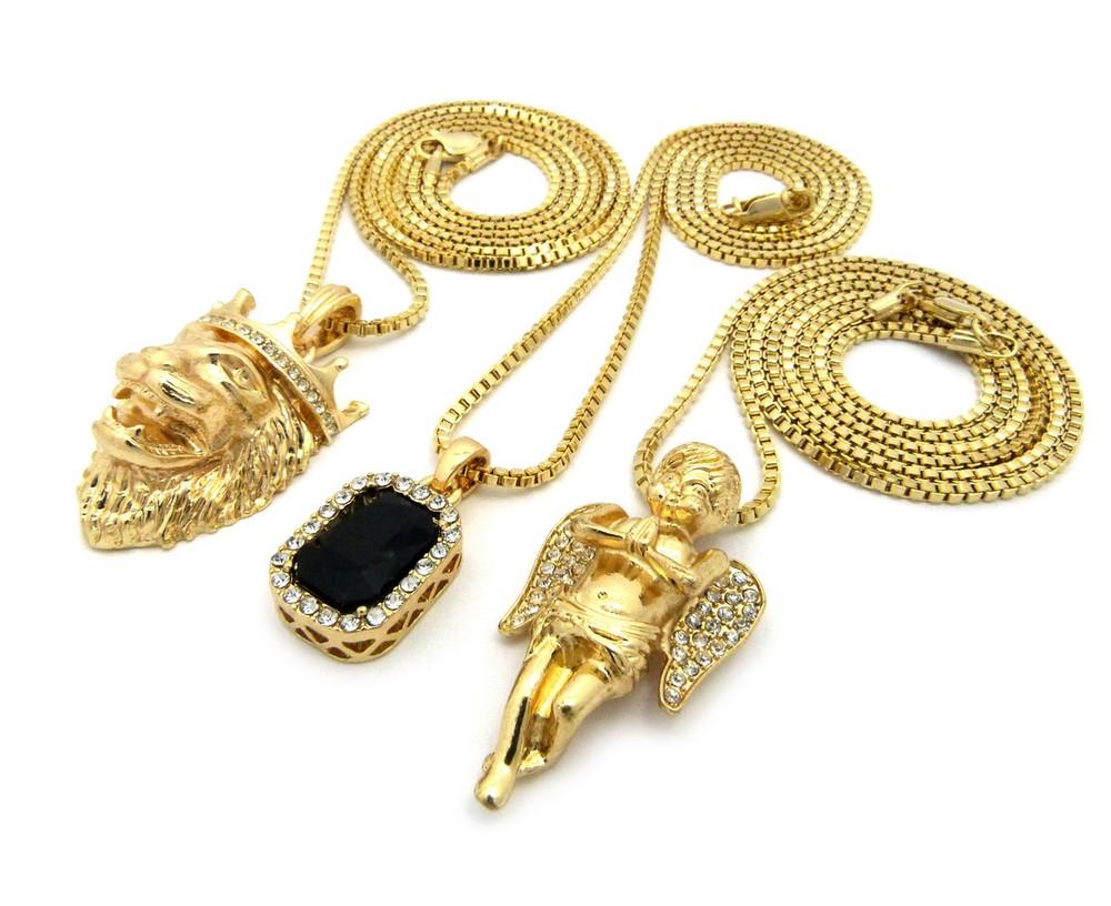 Lion Of Judah Micro Cherub Black Onyx Hip Hop Pendant