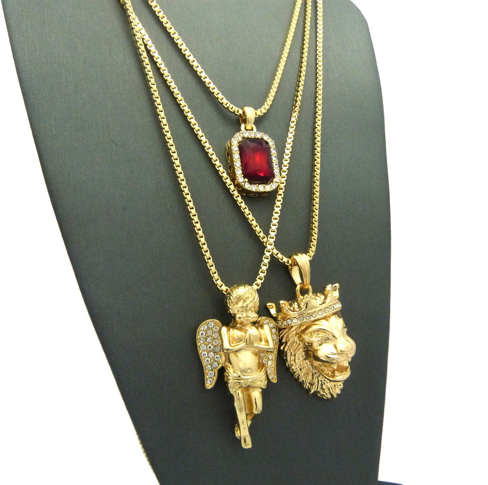 14k Gold Lion Of Judah Micro Cherub Red Onyx Hip Hop Pendant