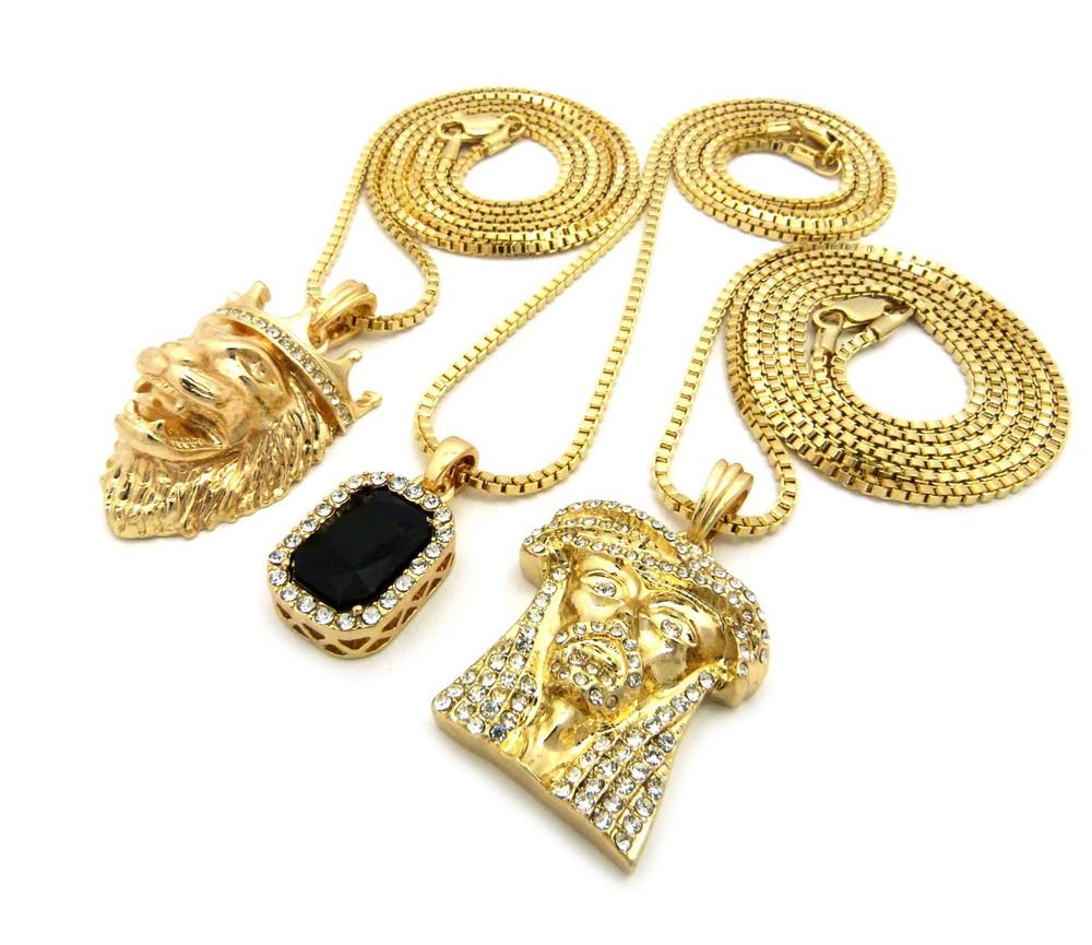 14k Gold Jesus Lion Of Judah Cherub Black Onyx Hip Hop Chain