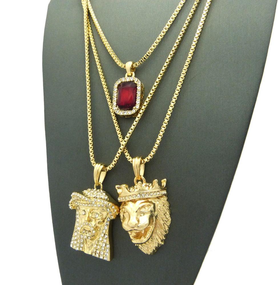 14k Gold Jesus Lion Of Judah Cherub Red Onyx Hip Hop Chain
