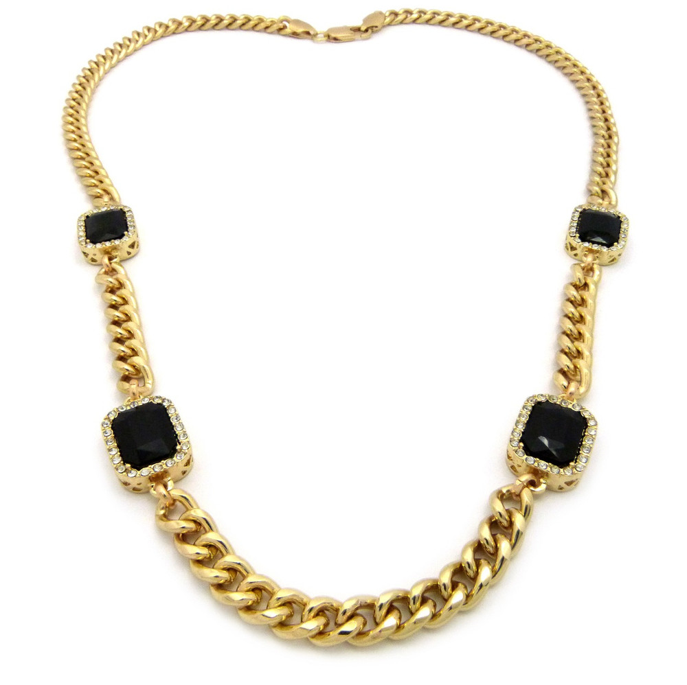Mens Iced Out Diamond Cz Black Onyx Chain Necklace Gold