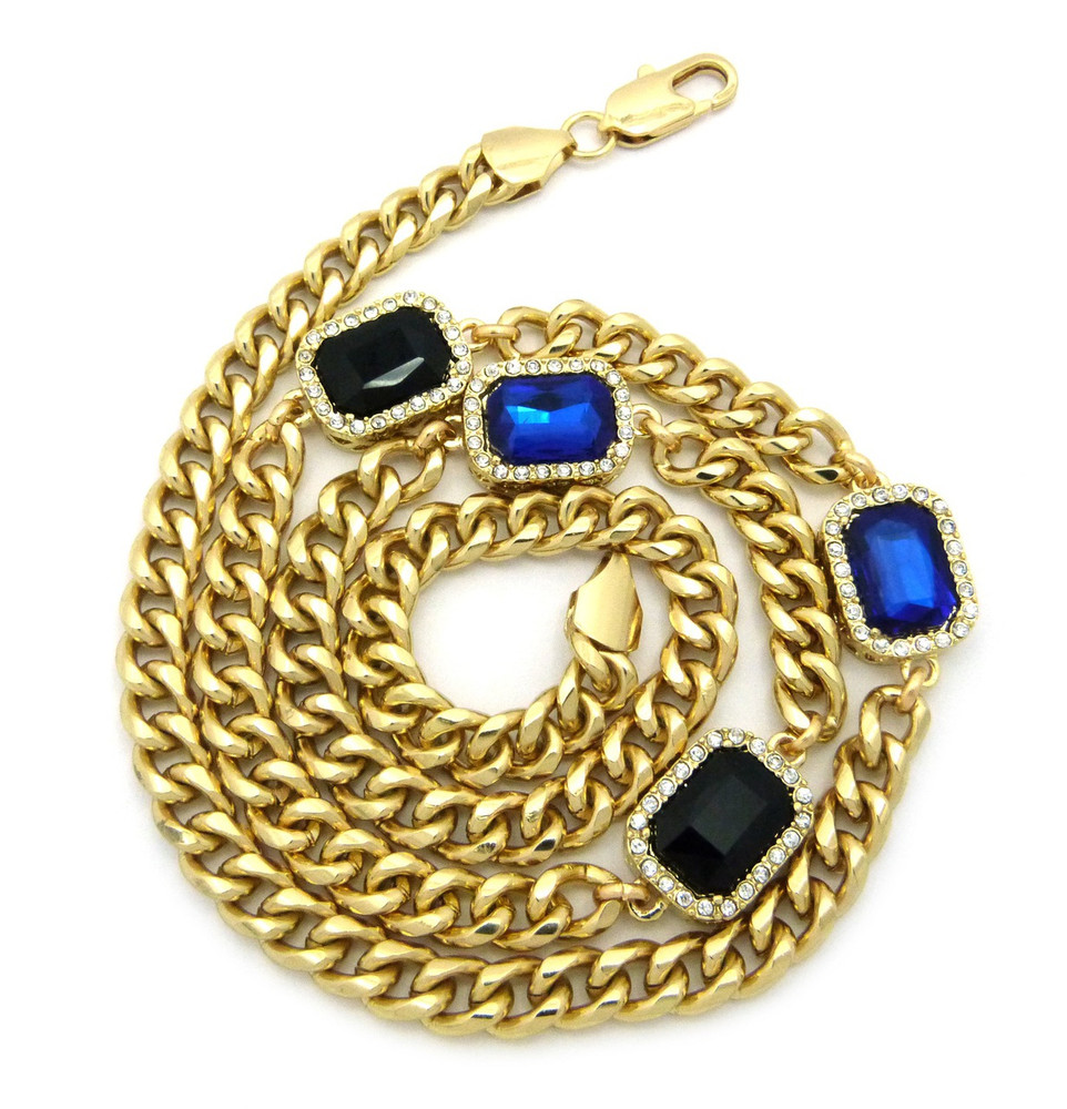 Mens Iced Out Diamond Cz Blue & Black Onyx Chain Gold