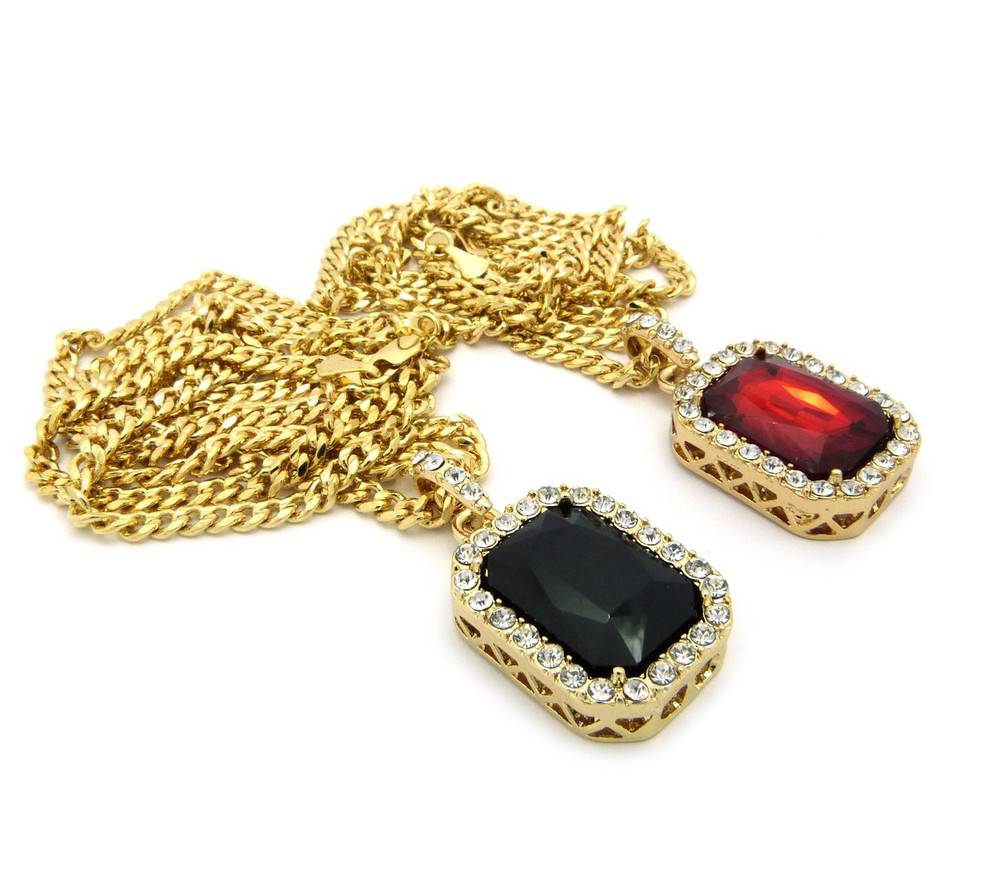 Hip Hop Black Red Onyx Shield Pendant Cuban Chain