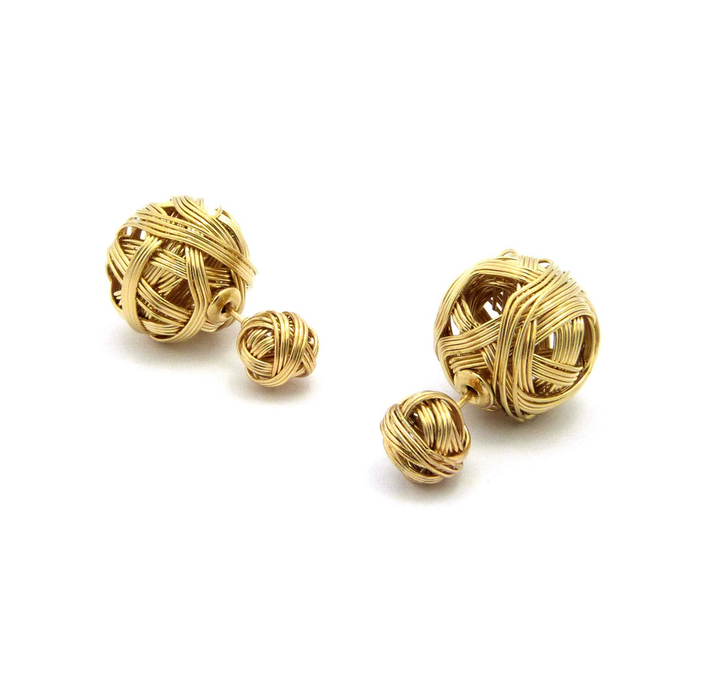 8mm Ladies Wire Ball Filigree Box Bling Earrings