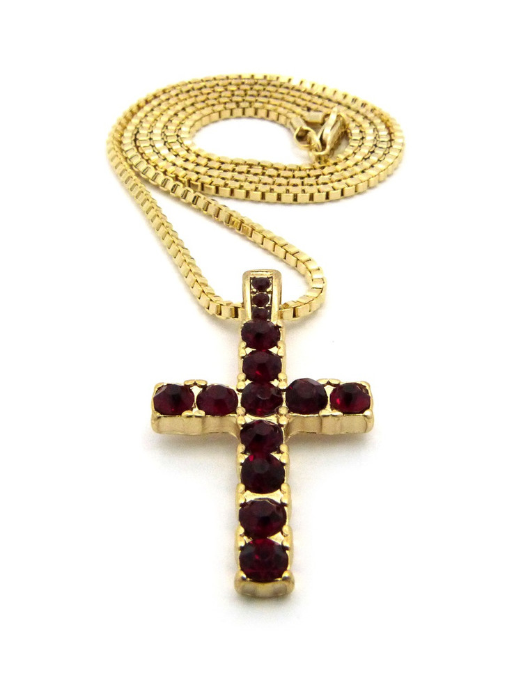 14k Gold Small Micro Ruby Red Diamond Cz Stone Cross Pendant