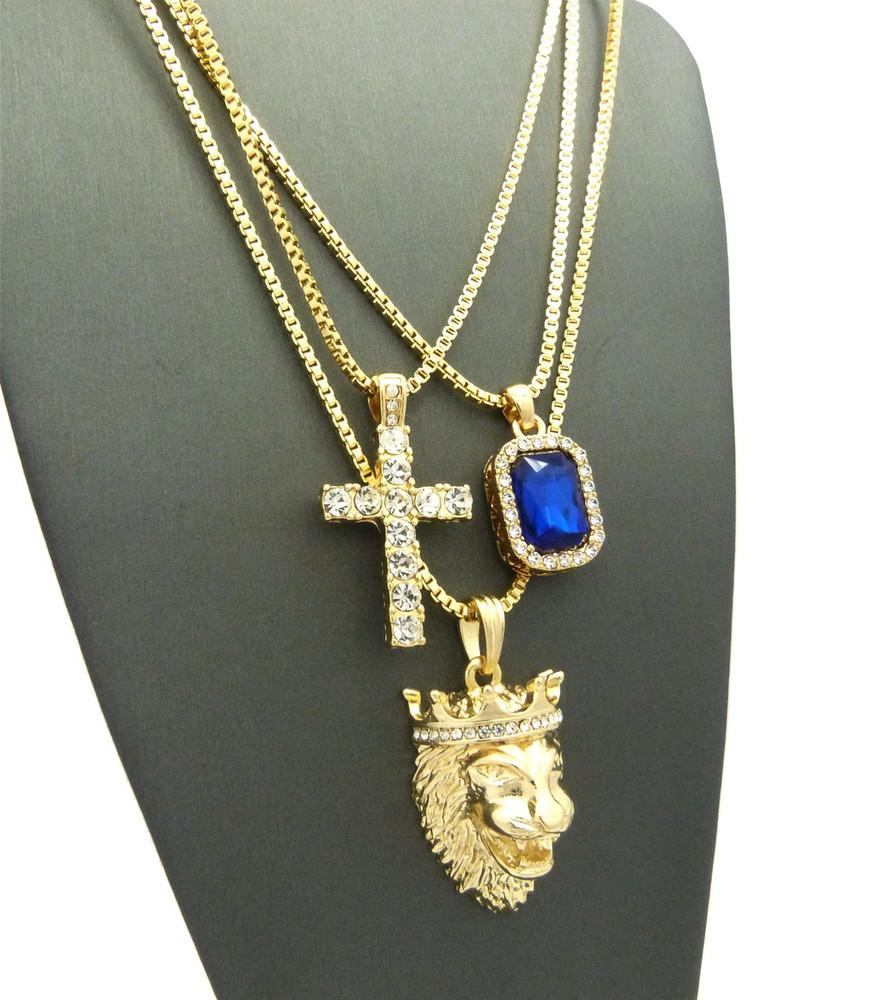 Lion Of Judah Micro Diamond Cz Cross Onyx Hip Hop Pendant