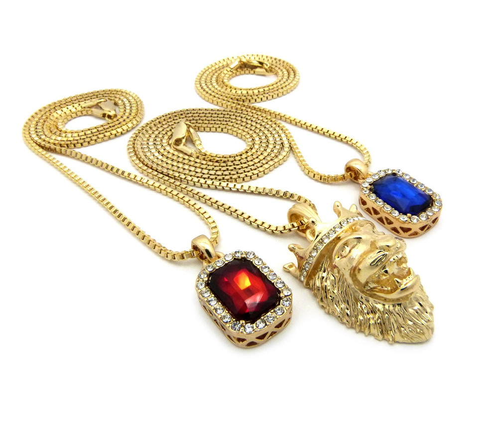 Lion Of Judah Micro Diamond Cz Blue Red Onyx Hip Hop Pendant