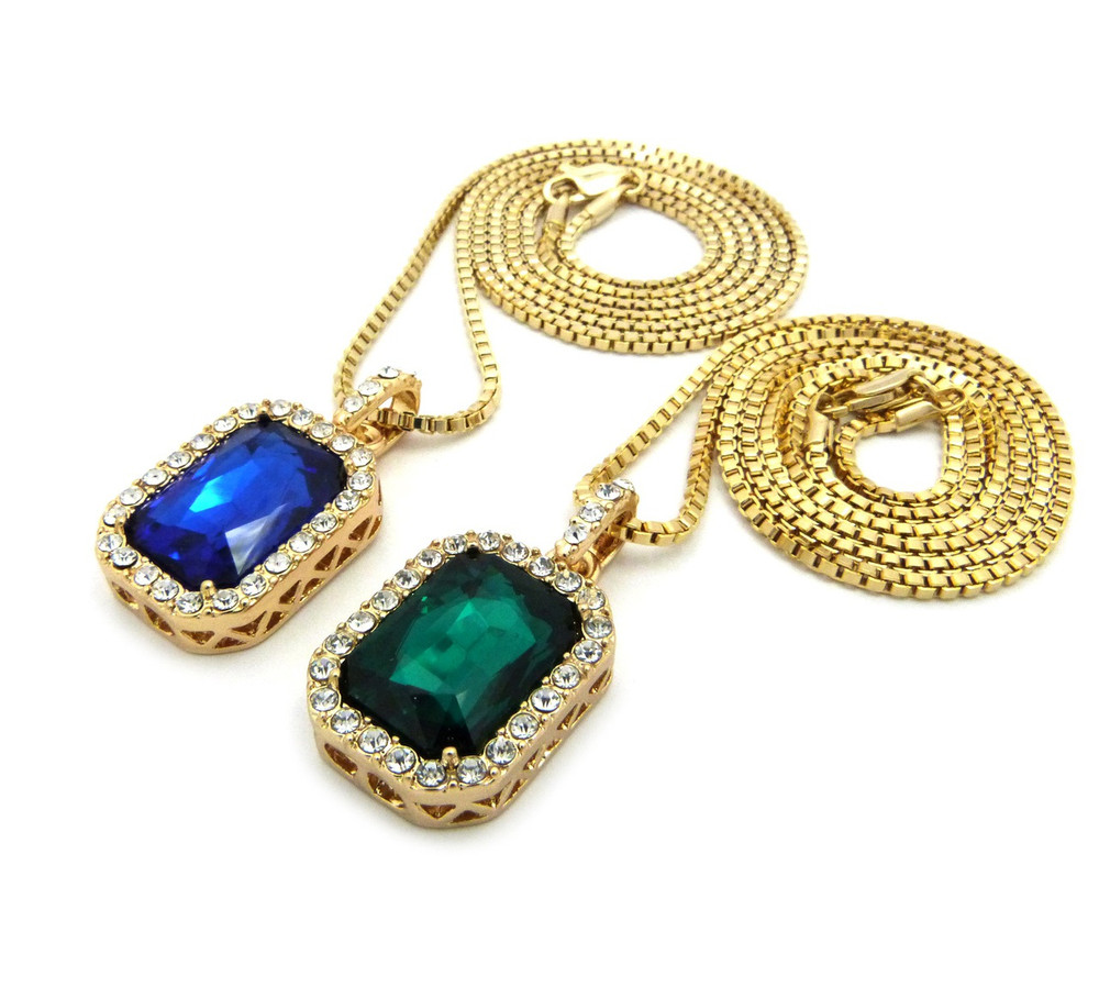 Hip Hop Onyx Shield Pendant w/ Box Chain Green Blue