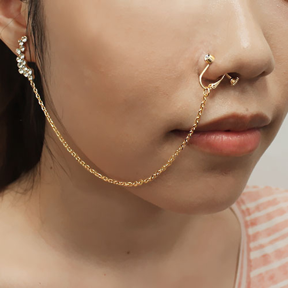 Nose To Ear Chain Non Pierced Nose Ring Clip On Diamond Cz