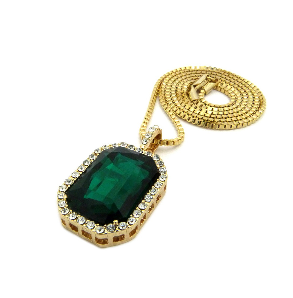 Onyx Shield Diamond Cz Iced Out Pendant Emerald Green