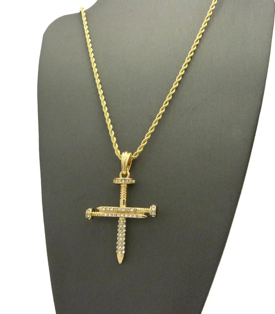 Jesus Diamond Cz Nail Cross Pendant Rope Chain Gold