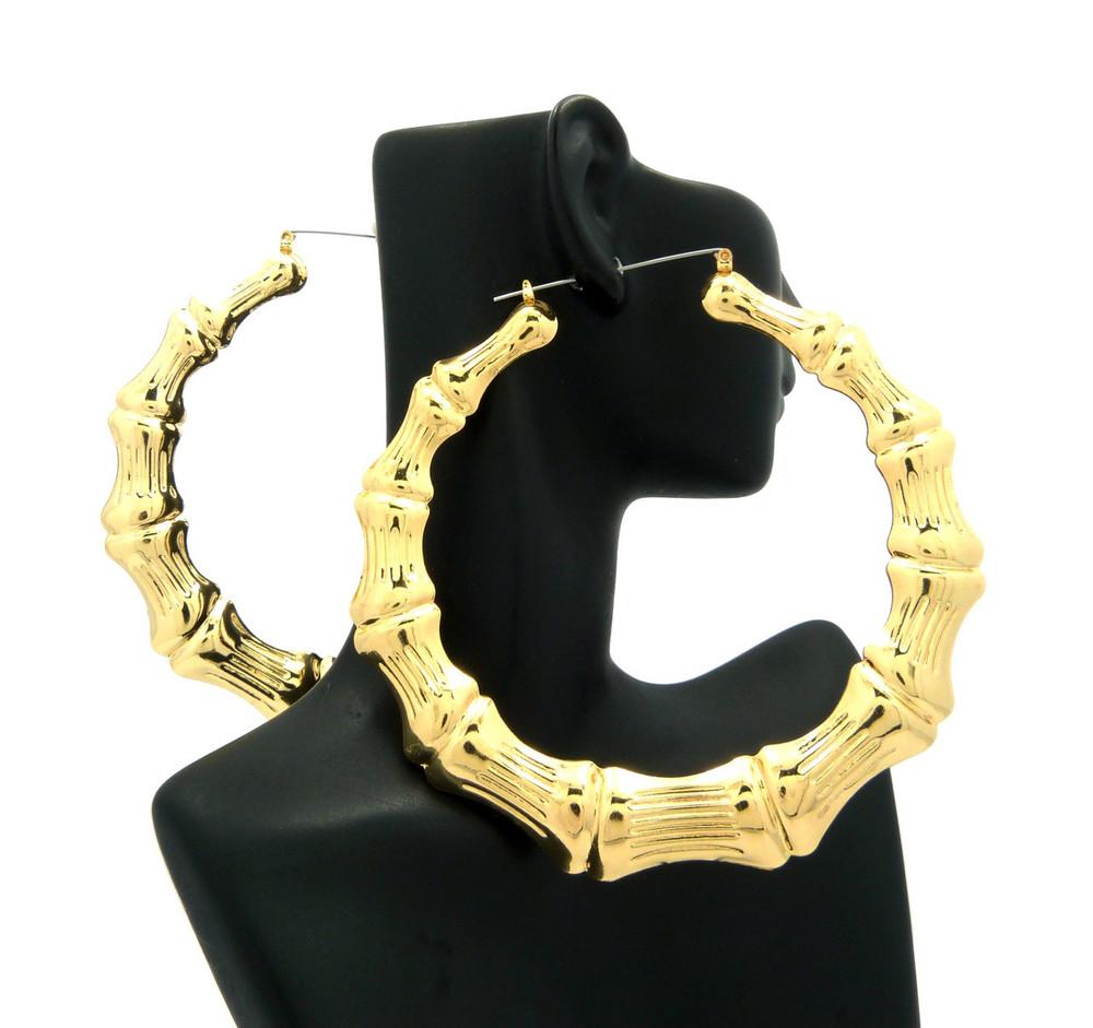 "Ladies Bamboo 4.15"" Orignal Lightweight Door Knocker Earrings Gold"