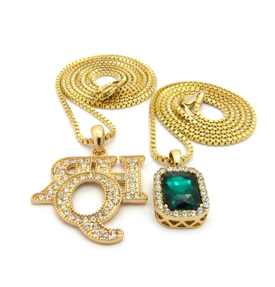 Rich Homie Quan Inspired Emerald Green Shield Box Chain